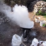 Example of how it can boil hot mortar - be very careful