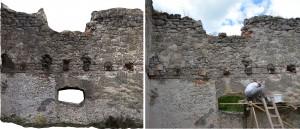Porovnanie stavu muriva pred a po realizácii grantu - interiér zápdanej steny