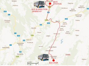 """Map of the whole bus route from Krupina to """"Cabradsky Vrbovok""""."""