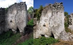 Stav nárožia budovy v hradnom jadre pred a po doplnení chýbajúceho muriva. Bez tohto zásahu hrozilo odtrhnutie a zrútenie celého nárožia a ohrozenie prípadných návštevníkov .