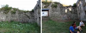 Stav kaverny v štítovej hradbe - porovnanie pred a po zásahu