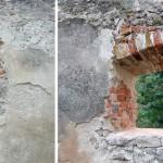 A jedna zo zrekonštruovaných okien v sýpke - stav pred a po